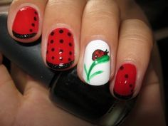 ladybug nail art design video tutorial   *Nail Designs Do It Yourself*
