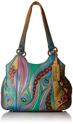 30f2f33a975 Anuschka Womens Leather Hand Painted Triple Compartment Medium Satchel  Handbag - The Social Travel Experience Painting