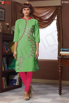 Green Color with Butta Work Incredible Readymade Kurti. Message/call/WhatsApp at +91-9246261661