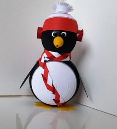 Penguin Christmas Decoration Ornament Paper Quilled with Bright Holiday Red Hat…