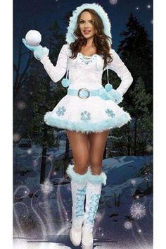 Womens Pretty Hooded Long Sleeve Snowman Christmas Costume White