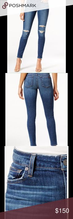 JOES SKINNY JEANS Rock these trendy jeans, for a street chic look that never lets you Kinney fit through hips and thighs. Skinny leg with zipper and button closure. Five pocket styling. Dark blue wash with fading, whiskering, ripping and distressing. Approx inseam 28. Material cotton/spandex. Joe's Jeans Pants Skinny