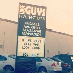 Never has a hair salon sign been so fitting... Wise Guys, indeed! Read more: http://stand.sh/huffsalon #hairsalon #salon