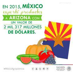 En 2015, México exportó productos a Arizona con un valor de 2 mil 317 millones de dólares. SAGARPA SAGARPAMX #MéxicoAgroPotencia