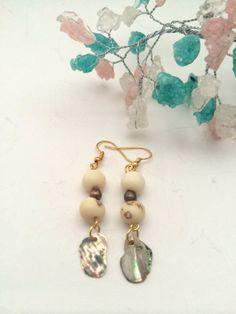 Cream Case Dangle Earrings with Nacar by LaMonaMossa on Etsy