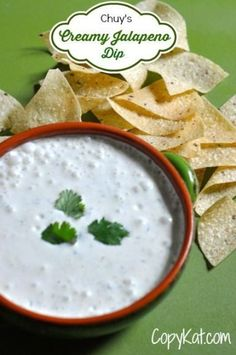 Make this creamy jalapeno dip, it tastes just like Chuy's.  This is an easy to make copycat recipe, and is a great appetizer or can be served at your next party