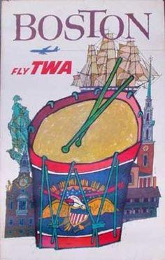 TWA Boston, vintage travel poster by David Klein, ca.1960s