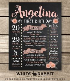 First Birthday Chalkboard Sign First by WhiteRabbitArtPrints