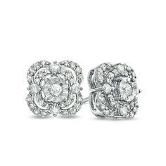 Zales 1/3 CT. T.w. Black Diamond Composite Square Stud Earrings in Sterling Silver RpLuc5YY9u