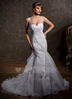 Corte trompeta/sirena Escote corazón Tren de la corte Satén Tul Vestido de novia con Volantes Encaje Bordado.