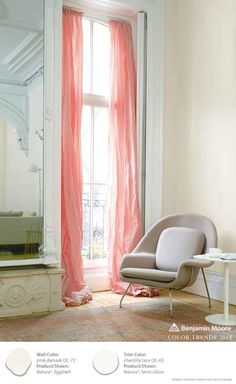 Love the muted effect of Pink Damask on walls, combined with Chantilly Lace on the molding.  Benjamin Moore's Natura Paint [ad]