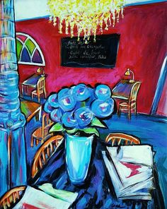 The Cafe 11 x 14  Original Painting  Saint Remy de by leahreynolds
