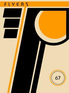 Bauhaus style poster featuring hockey team logos.