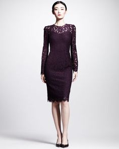 Long-Sleeve Lace Illusion Sheath Dress by Dolce & Gabbana at Neiman Marcus.