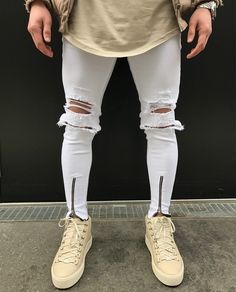 Cheap skinny biker jeans, Buy Quality biker jeans directly from China biker style jeans Suppliers: 2017 New Hole patch men skinny biker jeans new fashion hip hop style Ripped elastic zipper denim pants Motorcycle white jeans Jeans Moto, Skinny Biker Jeans, Ripped Jeans Men, Mode Jeans, White Skinny Jeans, Denim Pants, Men's Jeans, Slim Jeans, Punk Jeans