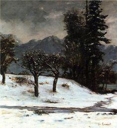 Gustave Courbet - Snow, 1874. Het is een realistisch schilderij. Er zijn koude kleuren gebruikt, wit/zwart en meerdere tinten grijs. De bomen staan centraal. Er zijn dunne kwaststreken gebruikt voor de bomen, en grove kwaststreken voor de lucht en sneeuw.