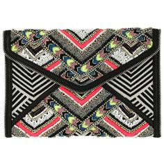 Rebecca Minkoff Evening Bag - Wonder Leo Clutch Black/White - in... ($230) ❤ liked on Polyvore featuring bags, handbags, clutches, colorful, evening handbags, black and white evening bag, multi colored clutches, black and white purse and handbags clutches