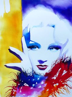 Marlene Dietrich Art Print of Original by KimberlyGodfrey on Etsy
