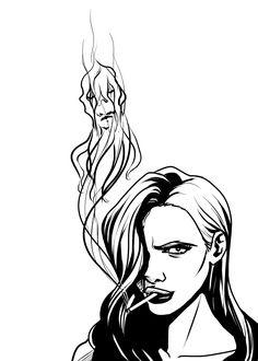 Ophelia Sarkissian, aka Madame Hydra, smoking. Inspired by artwork by Johnny Gloom