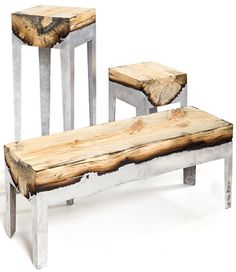 Wood Casting by Hilla Shamia. Shamia pours molten aluminum directly onto the wood, which burns the surface and darkens the wood. The wood gets cut up lengthwise and put into a mold to form the frame and legs of the piece.