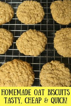 17 minutes · Vegetarian · Makes 16 biscuits · My homemade oat biscuits are prepped and in the oven in under 5 minutes. Best of all they take just 10 minutes to bake. Enjoy a frugal treat in just minutes! Delicious warm from the oven too! Biscuit Recipes Uk, Oat Biscuit Recipe, Biscuit Cookies, Cookie Recipes, Oat Cookies, Easy Vegan Cookies, Seed Cookies, Quick Cookies, Buttery Cookies
