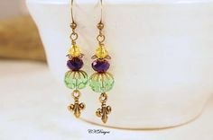 Mardi Gras Earrings  Swarovski Crystals Brass Fleur by CKDesignsUS