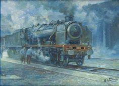 Peinture de train à vapeur de Pierre Saez.