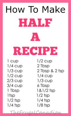 how to make half a recipe measurements chart sheet
