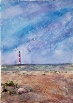 I am drawn to old and abandoned buildings and a lighthouse is no exception.  Morris Island Lighthouse stands tall and solitary in my watercolor – it appears to be sitting on the ocean from this view of Folly Beach.  https://www.etsy.com/listing/79688419/lighthouse-morris-island-south-carolina?ref=shop_home_active_2   #MorrisIslandLight  #MorrisIsland    #FollyBeach   #Lighthouse  #South Carolina #Charleston