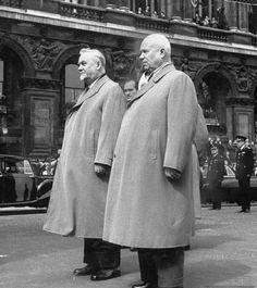 The leaders of the USSR - Nikita Khrushchev and Nikolai Bulganin in London, 1956