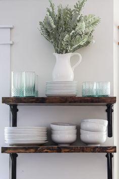 DIY kitchen open shelving via Living Letter Home Modern Farmhouse Decor, Rustic Kitchen, Diy Kitchen, Kitchen Living, Kitchen Ideas, Home Decor Bedroom, Diy Home Decor, Bookcase Styling, Kitchen Layout