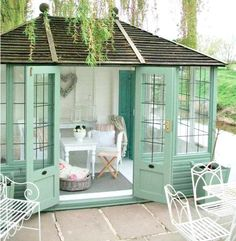 SunnySkyz jm-allcreated-she-sheds-trending-3   sea foam green glasshouse that reminds me of the beach