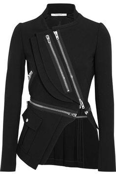 Givenchy - Wool-trimmed Stretch-crepe Jacket - Black - FR36