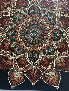 Dot Mandala painted on a stretched canvas, in shades of brown acrylic paint and sealed with a satin varnish. Dot Art Painting, Mandala Painting, Mandala Drawing, Stone Painting, Mandala Canvas, Mandala Art Lesson, Mandala Rocks, Mandala Pattern, Fractal Art