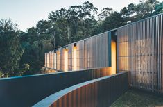 The family home is designed to enhance the sense of connection between its occupants and the surrounding eucalyptus forest.