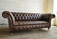 Traditional Vintage British handmade Antique Belmont deep buttoned Chesterfield Sofa, shown in gold antique leather. 3 seater. | Abode Sofas