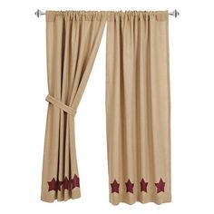 Burlap Natural Burgundy Stencil Star Short Panel Curtains 63""