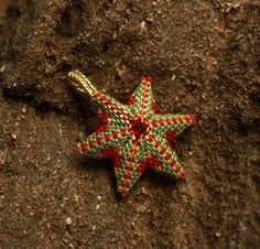 Beaded orange gold fish star pendant!
