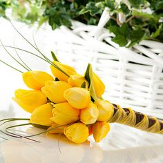 """Simply Tulip"" in Yellow -- Yellow Tulip Silk Wedding Bouquet"