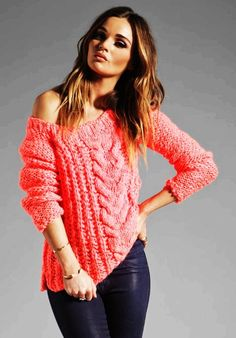 Vintage Cable Knit Sweater - Electric Pink Sweater