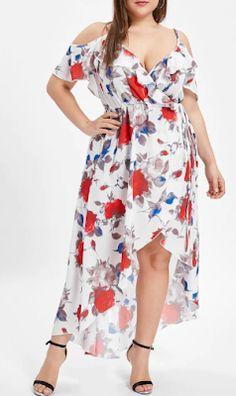3cfc91b9823 2019 Ruffle Trim Plus Size Floral Print Asymmetrical Dress - 37% off