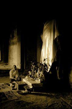 Accepting Alms. Siem Reap, Cambodia