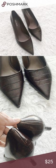 NWOT Nine West Croc Embossed Kitten Heels Crocodile embossed. Dark, deep brown. Pointed toe. Have never been worn but small surface scratches; see photos provided.   •USE OFFER FEATURE TO NEGOTIATE  •BUNDLE TO SAVE  •NO OUTSIDE TRANSACTIONS •NO TRADES Nine West Shoes Heels