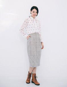 許許兒♪蠶絲毛料鉛筆裙-灰 Woolen pencil Skirt