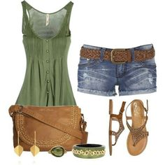 Olive green blouse tank; jean shorts; brown leather purse