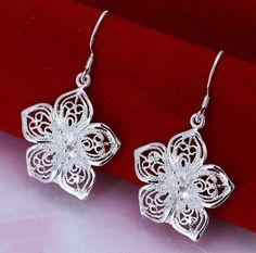 #925 #solid #sterling #silver #earrings #flower #shape. Uk seller. No box