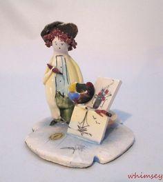 Lino Zampiva Signed Artist Painter Figurine Pastel Ceramica Italy Hand Made