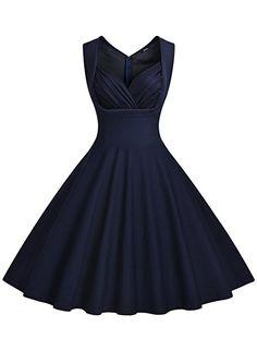 Miusol Damen Aermellos Sommerkleid 1950er Retro Cocktailkleid Petticoat  Faltenrock Kleid Dunkelblau Groesse L  Amazon. 158fa10154