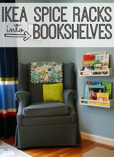 Great DIY Ikea Hack. Make your own bookshelves for your bedroom or office with these Ikea spice racks. Such a great idea to maximize your wall space. Click here to find out what to buy, and how to quickly make these bookshelves.