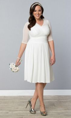 4de339e6c7d Three Quarter Sleeve Bridal Shower Outfit by Kiyonna on  AislePerfect via   aislesociety Courthouse Wedding